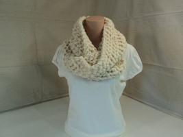 Handcrafted Cowl Wrap Cream Textured Merino Wool Infinity Female Adult - $49.59