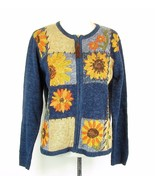 HEIRLOOM COLLECTIBLES Size M Cotton Blend Sunflower Cardigan Sweater Mint - $15.99