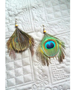 Peacock earrings Natural jewelry Gift for her Woodland earrings Eco chic... - $11.00