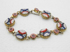 Vintage Italy Gold Toned Filigree Micro Mosaic Floral Glass Bracelet - 6... - $123.75