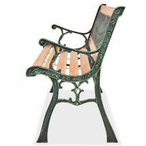 vidaXL Patio Wooden Garden Bench w/ Backrest Vintage Seat Diamond/Rose Design image 10