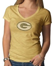 GREEN BAY PACKERS 47 Brand NFL Womens V-Neck Scrum Tee Yellow M - $37.61