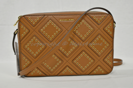 Michael Kors Diamond Grommet JetSet Travel Large East West Leather Cross... - $159.00