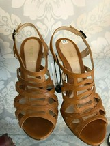 FENDI Brown Leather Slingback Sandal Heels Sz 37 or US 7 $740 - $224.85