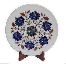 """Size 9""""x9"""" White Marble Serving Dish Tray Plate Lapis Inlay Marquetry Decor Art - $112.71"""