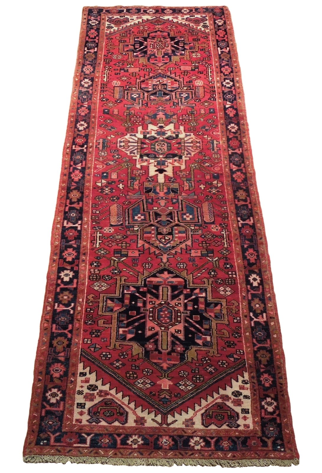 Tribal Inspired Olde Runner Persian Hand-Knotted 2' x 11' Red Heriz Wool Rug