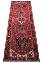 Tribal Inspired Olde Runner Persian Hand-Knotted 2' x 11' Red Heriz Wool Rug image 1