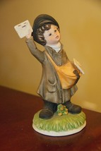 "Homco Mail Delivery Boy 1435AA Porcelain Bisque 6.75"" H X 3"" W Base No Chips Euc - $16.99"