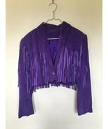 QASTAN WOMEN'S NEW SHORT BODY PURPLE WESTERN FRINGE SUEDE LEATHER JACKET... - $122.60+