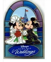Mickey & Minnie Fairy Tale Weddings Stained Glass3D Authentic Disney Pin - $25.00