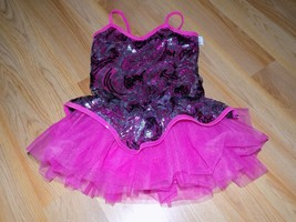 Child Size Medium Curtain Call Metallic Pink Sequined Dance Costume Unit... - $28.00