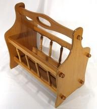 Vintage Mid Century Modern Honey Oak Wood Baluster Magazine Lap Top Rack... - $139.32