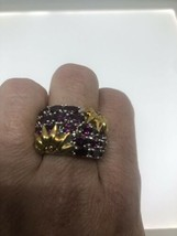 vintage Red Tourmaline ring Golden 925 Sterling Silver Genuine Gemstone - $163.35