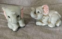 2 Vintage HOMCO Porcelain BABY ELEPHANT #1400 TRUNKS Orig. Foil on Bottom - $9.89
