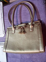 Liz Claiborne Gold Purse Handbag W Brown Lining with Bow CUTE - $9.50