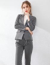 Womens Popular Brand Designer Pinstripe Slim Fit 2 Piece Pants Suit image 4