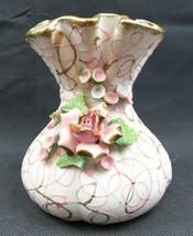 Vintage basket porcelain Lefton China hand painted vase Roses Pop Art deco - $38.00