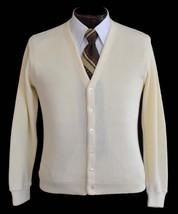 Vintage 70s Mens Cream White Grandpa Golf Cardigan Sweater Size Small to... - $39.99