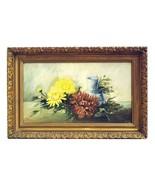 ANTIQUE OIL PAINTING Chrysanthemums FLOWERS VASE PRETTY GILT FRAME 1912 - $157.49
