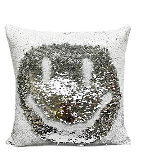 "Fennco Styles Glam Mermaid Sequin Throw Pillow - 16""x16"" (Cover + Insert, White-"