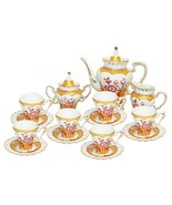 Beautiful Victorian Golden Flower Hearts Decorative Porcelain Coffee Tea... - $95.03