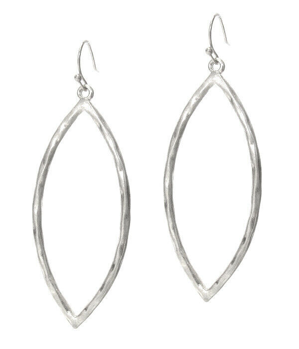 Primary image for Hammered Oval Dangle Earrings Silver NEW