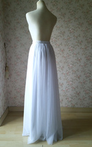 WHITE FULL TULLE Skirt White Wedding Bridal Tulle Maxi Full Skirts,petite-plus image 4