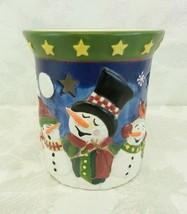 "Ceramic Snowman Wax Melter Tart Burner Tealight 5"" High Star Cutouts - $17.81"