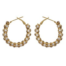Indian Bridal Hoop Earrings Designer Silver Stones Tribal Boho Fashion J... - $8.90