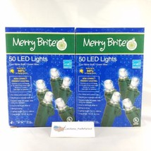 (2)Merry Brite 50 Count LED Lights - Cool White Bulbs/Green Wire 13.5' L... - $15.99