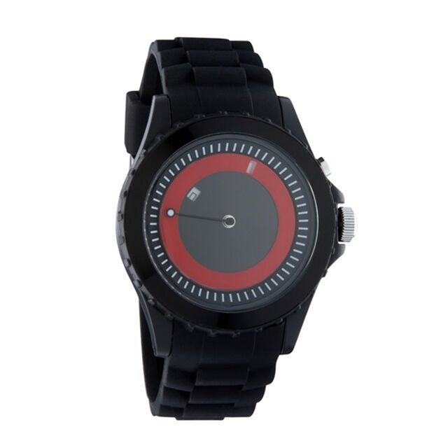 Flud Unisex THN005 Back lit Analog Movement Watch Black Rubber Strap Red Face