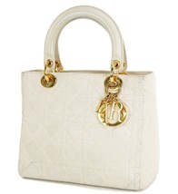 Auth Christian Dior Ivory Quilted Leather Lady Dior Hand Bag Purse #33134 - $649.00