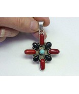Vintage Red Coral Onyx Turquoise Cross Sterling Silver Pendant Necklace - $54.45
