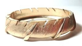 VINTAGE CROWN TRIFARI SIGNED BRACELET BRUSHED GOLD TONE HINGED CLAMPER - $40.00