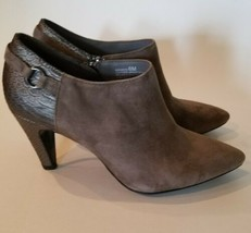 Bandolino Bootie Ankle Boot Suede Gray Womens Kaeto Pointed Toe Heel 6M - $19.79