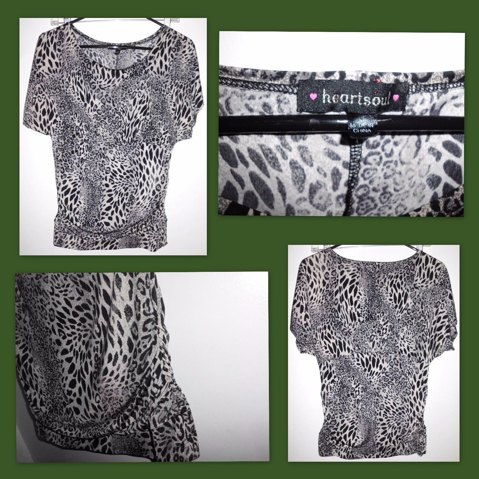 "Primary image for HEART SOUL Lined Animal Print Short Sleeve Shirt 33"" Bust Women's EUC"
