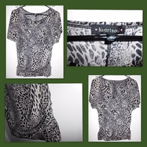 "HEART SOUL Lined Animal Print Short Sleeve Shirt 33"" Bust Women's EUC - $9.89"