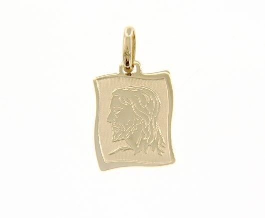 18K YELLOW GOLD PENDANT PARCHMENT MEDAL JESUS FACE 19 MM ENGRAVABLE ITALY MADE