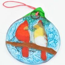 Male Female Cardinal Bird Fused Art Glass Ornament Sun Catcher Handmade Ecuador image 2