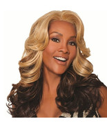 Ombre Blond to Brown Loose Wave Heat Resistant Wigs Middle Part 24 inches - $13.00
