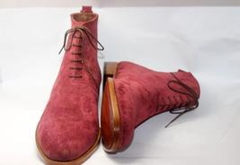 Handmade Men's Burgundy Color Suede Two Tone High Ankle Lace Up Suede Boots image 2