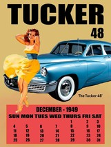 1948 Tucker with Brunette Pinup 1949 Calendar Retro Classic Metal Sign - $19.95