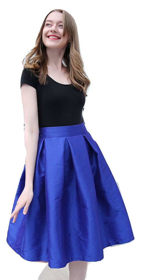 Women PLEATED Ruffle MIDI Skirt Blue Black Taffeta High Waist Midi Pleated Skirt