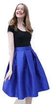 Lady PLEATED Ruffle MIDI Skirt Taffeta Midi Pleated Holiday Skirt-Blue,Plus Size image 1