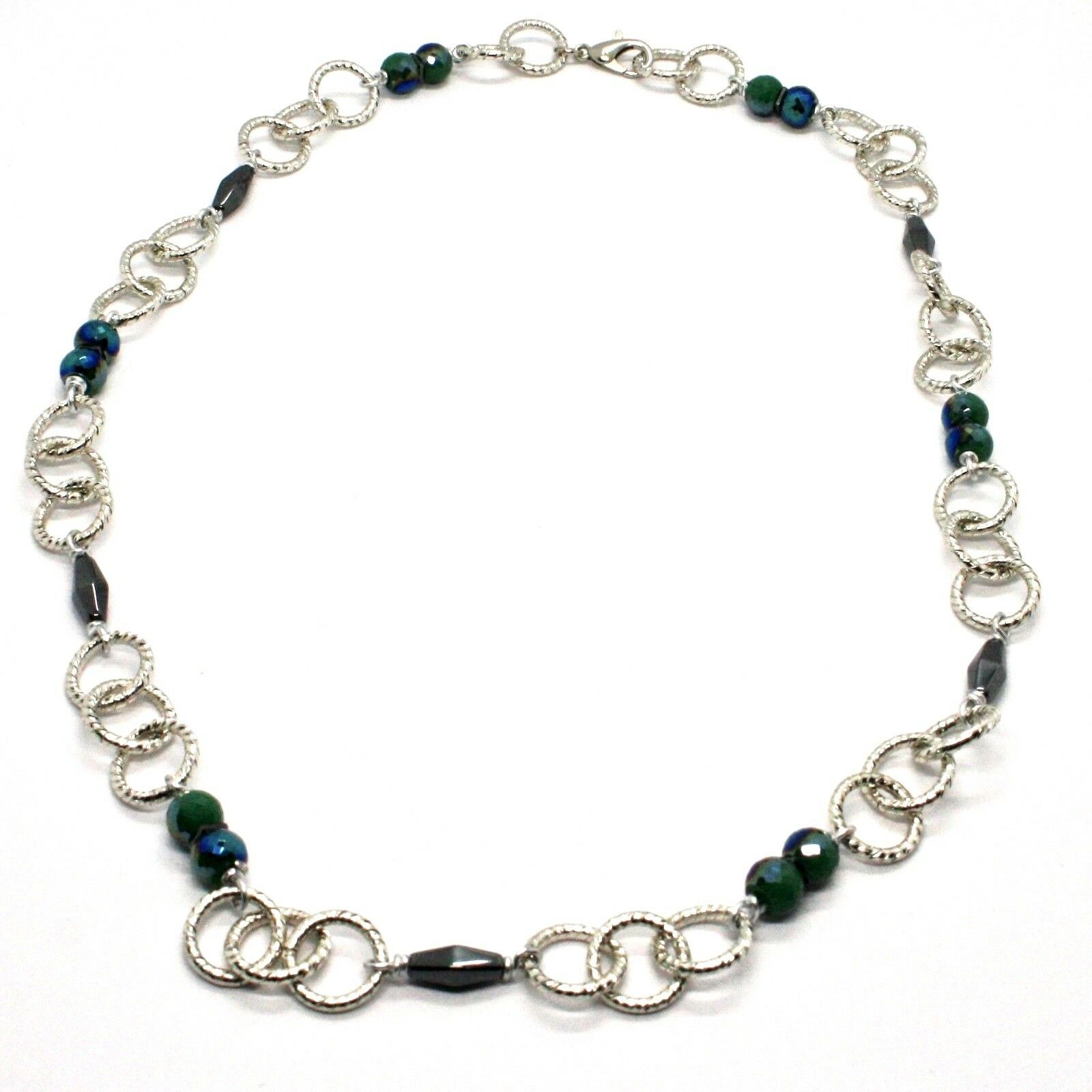 Necklace the Aluminium Long 60 Inch with Hematite Faceted and Crystal