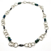 Necklace the Aluminium Long 60 Inch with Hematite Faceted and Crystal image 1