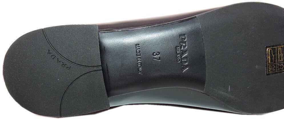 Sz 37 Prada Noeud Mocassins Plats Cuir Noir Ballerines Chaussures Bout Pointu