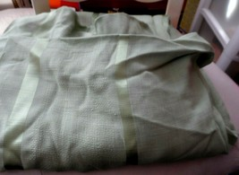 """medium green rectangle tablecloth 60"""" x 85""""  w/ stripe woven and satin d... - $10.00"""