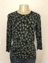 TALBOTS Pure 100% CASHMERE Peacock Feather Print Sweater Top Shirt Petit... - $29.69
