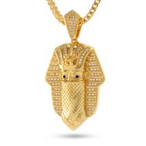 King Ice 14K Gold Cubic Zirconia Bandana Pharaoh Pendant & Necklace NKX0992 NWT image 1